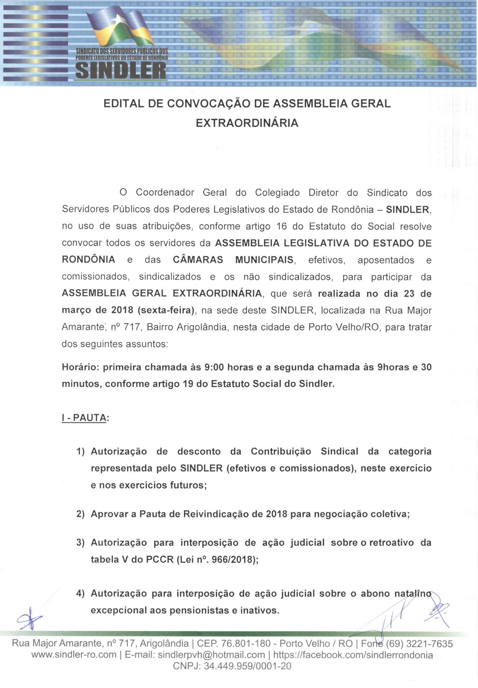 EDITAL CONVOCACAO AGE 23 MARCO2018 P1