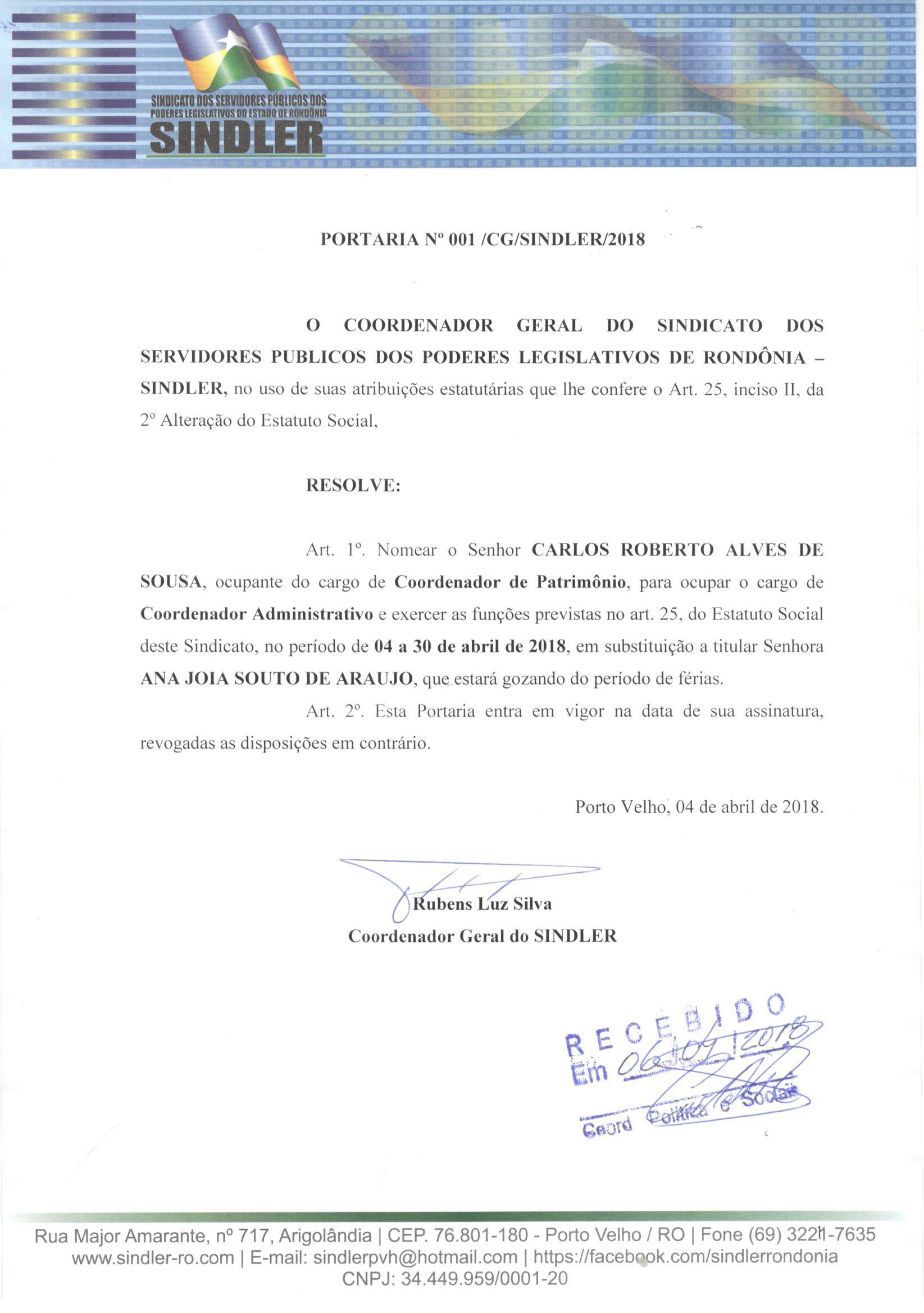 PORTARIA N001 2018 COORDENAÇÃO ADM CARLOS ROBERTO EM SUBSTI