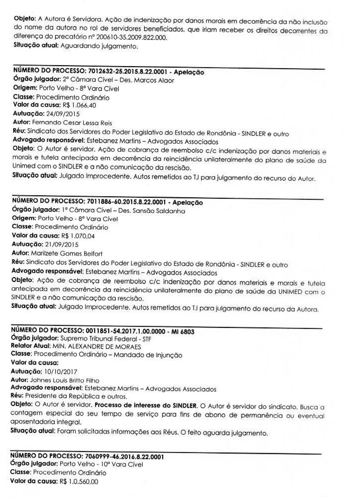 RELATORIO DE PROCESSOS SINDLER 2