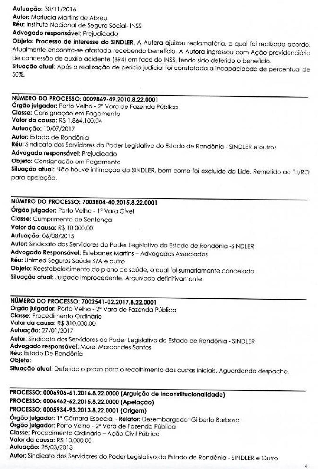RELATORIO DE PROCESSOS SINDLER 3